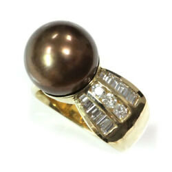 12 Mm Cultured Thick Nacre Brown Pearl And Diamond 14k Yellow Gold Cocktail Ring