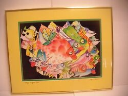 Excellent Bill Everett Signed 1994 Boys Night Out Fish Print - Matted - Framed