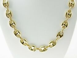 58.60 Gm 14k Yellow Gold Menand039s / Womenand039s Puff Mariner Chain Necklace 28 12 Mm