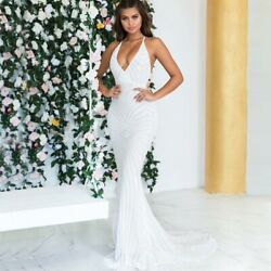 NEW! Designer White Sequin Embellished Plunge Neck Dress Gown Prom Train Gown $135.00