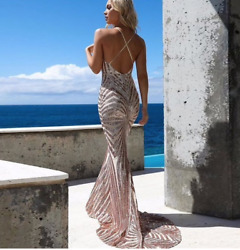 ReveBoutique Designer Gold Nude Sequin Embellished Plunge Neck Dress Gown Prom