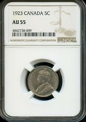 1923 CANADA 5C NGC AU 55 (ABOUT UNCIRCULATED 55) CANADIAN 5C COIN FC702