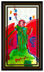 PETER MAX Original Painting STATUE OF LIBERTY Signed Pop Art Oil USA Head LARGE