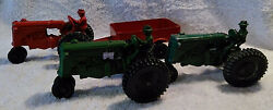 3 Lee Hubley Minneapolis Moline Tractors And A Trailer Two Green And One Red