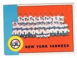 1963 Topps 247 New York Yankees Team Card, Excellent Condition