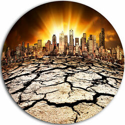 Design Art 'City with Effect of Climate Change' Photographic Print on Metal