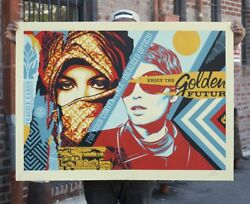Shepard Fairey Golden Future Large Format Signed Print Obey Giant /75 + Coa
