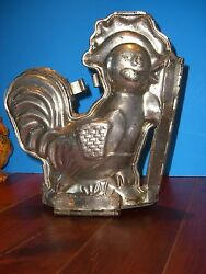 Antique Chocolate Mold Candy Mold Metal Mold Tin Rooster Mold 10 Tall