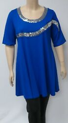 DUTCH DESIGNER YOEK SMALL ROYAL BLUE TUNIC WITH SEQUINED  EMBELLISHMENTS.