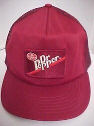 Dr Pepper 1980s One Size Fit All Maroon Mesh Baseball Cap Hat Snapback Made Usa
