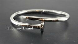 Stunning Womenand039s Nail Bangle Cuff Solid Sterling Silver 925 Statement Bracelet