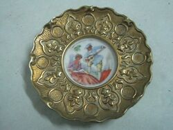 Antique wall small plaque or dish in bronze and porcelain limoges signed 1