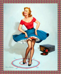 8881.decoration Poster.home Room Interior Print.sexy Pinup Record Player.decor