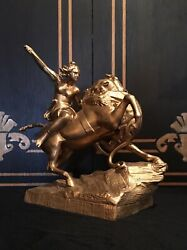 Gorgeous Late 1800andrsquos Dore Metal Topper/statue Native American
