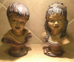 Vintage 1962 Universal Statuary Corp. Chicago 22 Boy Girl Bust Statues - 2 Tone