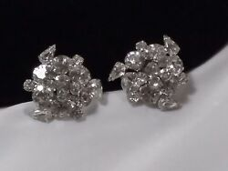 Vintage Estate Silver High End Layered Runway Chunky Clip Rhinestone Earrings