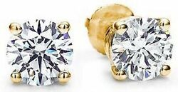 1 Carat Round Diamond Studs 14k Yellow Gold Basket Style Earrings H Color Vs