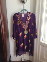 Designer  purple tunic with embroidery  and mirrors at the neck and front