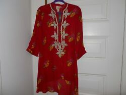 NWT designer  red tunic with gold braiding  at the neck and front