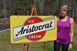 Vintage 50and039s Aristocrat Ice Cream Sign Art Deco Design And Graphics Unfindable