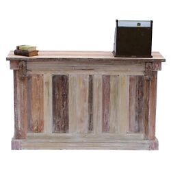 Store Counter or Home Bar 6 Foot Aged Wash Repurposed Wood Antique Style