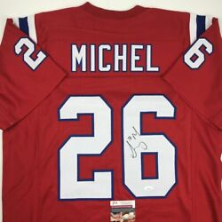 Autographed/signed Sony Michel New England Red Football Jersey Jsa Coa Auto