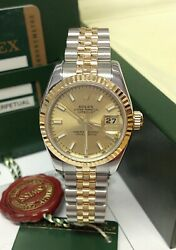 Rolex Datejust 26mm 179173 Champagne Baton Dial BOX AND PAPERS SERVICED BY ROLEX