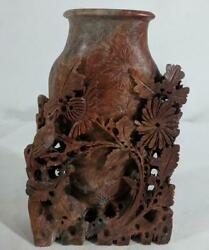Gg Antique 1864 Hand Carved Red Soapstone Chinese Relief Vase Floral Sculpture