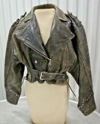 Vintage Motorcycle Leather Womens S Jacket Distressed 90's By Ventcouvert France