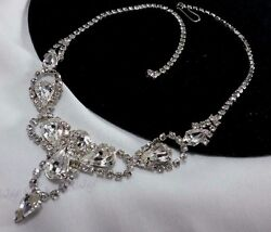 Vintage Silver Estate Ice Rhinestone Bridal Couture Princess High End Necklace