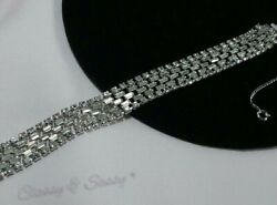 Vintage Estate High End Designer Art Deco Rhinestone Diamante Bracelet