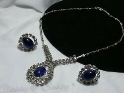 Vintage Silver Estate Rhinestone High End Deco Deep Blue Necklace