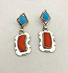 Navajo Sterling Silver .925 Coral And Turquoise 3/4 X 2 Earrings By E. Etsitty