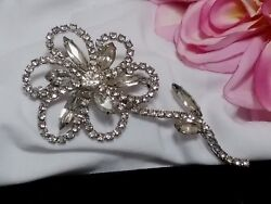 Vintage Silver Estate Rhinestone Long Stem Flower SunFlower High End Brooch Pin