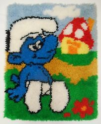 Smurfs Latch Hook Rug Vtg Completed Wall Art Hanging Or Cushion Cover 18x24