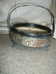 Antique Wooden And Silverplated Copper Repousse Candy Dish Handled Bowl