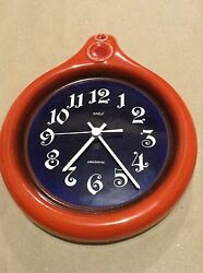 Vintage Baduf Clock Germany Kitchen Pottery Wall Clock Electronic Works
