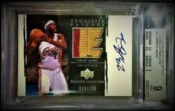 2003-04 UD Exquisite Lebron James Rookie Patch Auto RC 100 BGS 910 4Clr 11