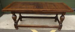 Large Antique C19th Oak Draw-leaf Table With Later Alteration - Extends To 320cm