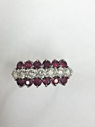 Large Vintage 1970s Ruby And Diamond Ring 18ct Yellow Gold Statement