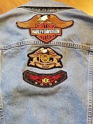 Women's Levi Trucker Denim Jacket With Hog Owners Harley-davidson Patches Large