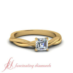 Solitaire Braided Pattern Engagement Ring With 0.50 Carat Asscher Cut Diamond