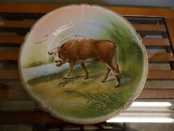 LS amp; S LIMOGES FRANCE 9.5quot; HAND PAINTED PLATE OF A BULL ARTIST SIGNED