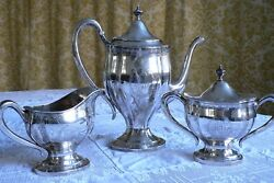 Dominick And Haff Sterling Silver 3-piece Coffee Set Pattern 3451 Monogrammed