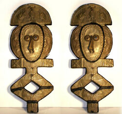 African, Pair of Bakota (Kota) Guardian Figures, Hand-Carved Wood Sculptures