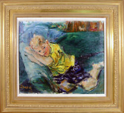 Dimitrie Berea Young Boy in Yellow Shirt Reclining on Couch Oil Painting