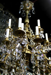 French Crystal Chandelier Bronze Chandelier with 24 Bulbs and Gemini Cut Crysta
