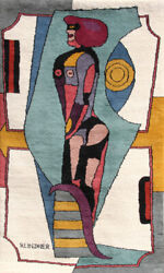 Richard Lindner Earth Mother Wool Wall-Hanging Tapestry signature embroidered