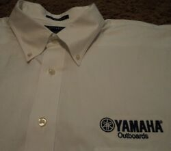 Men's Yamaha Outboards Fishing Logo L/s Pinpoint Oxford Dress Shirt 18.5-36 Tall