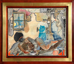 Romare Bearden Sunrise Coffee Collage and Mixed Media Painting